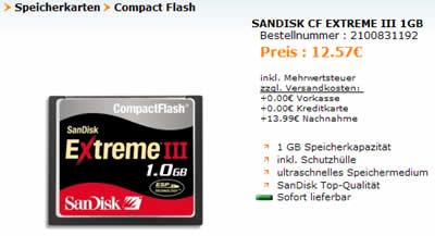 zur Sandisk CF Extreme III 1GB